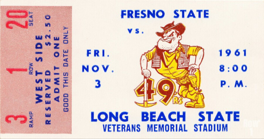 1961 long beach state fresno state football ticket art  Print