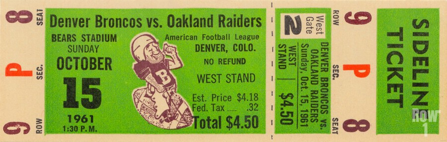 1961 oakland raiders denver broncos afl ticket stub art  Print