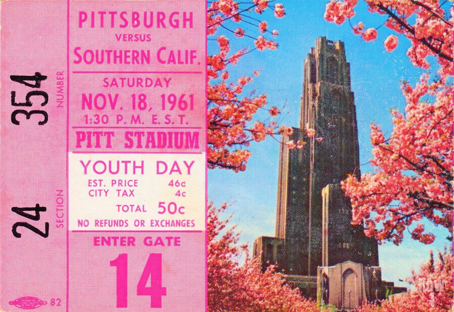 1961 usc pitt panthers football ticket stub poster print metal wood tickets  Print