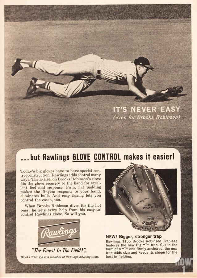 1963 brooks robinson rawlings baseball glove ad  Print