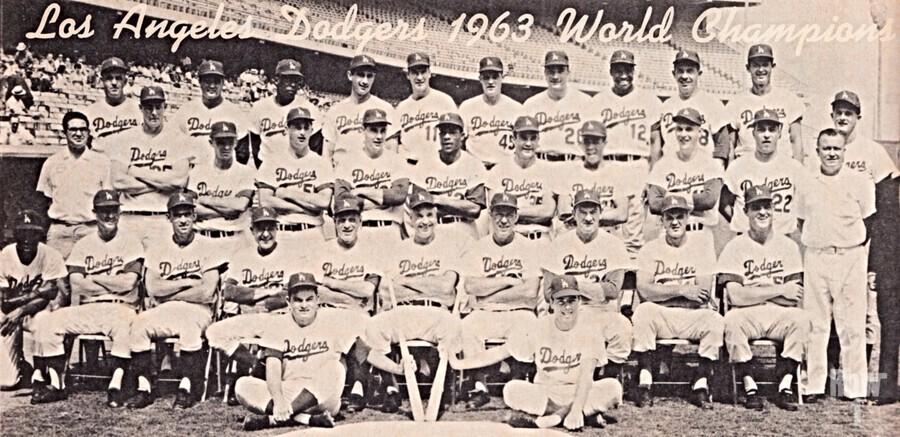 1963 la dodgers world champions team photo  Print