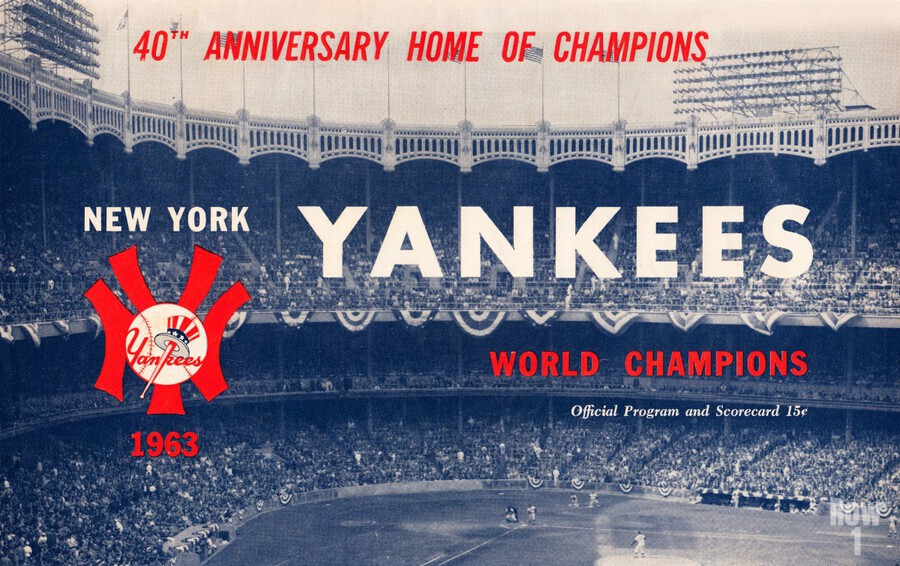 1963 new york yankees world champions scorecard canvas  Print
