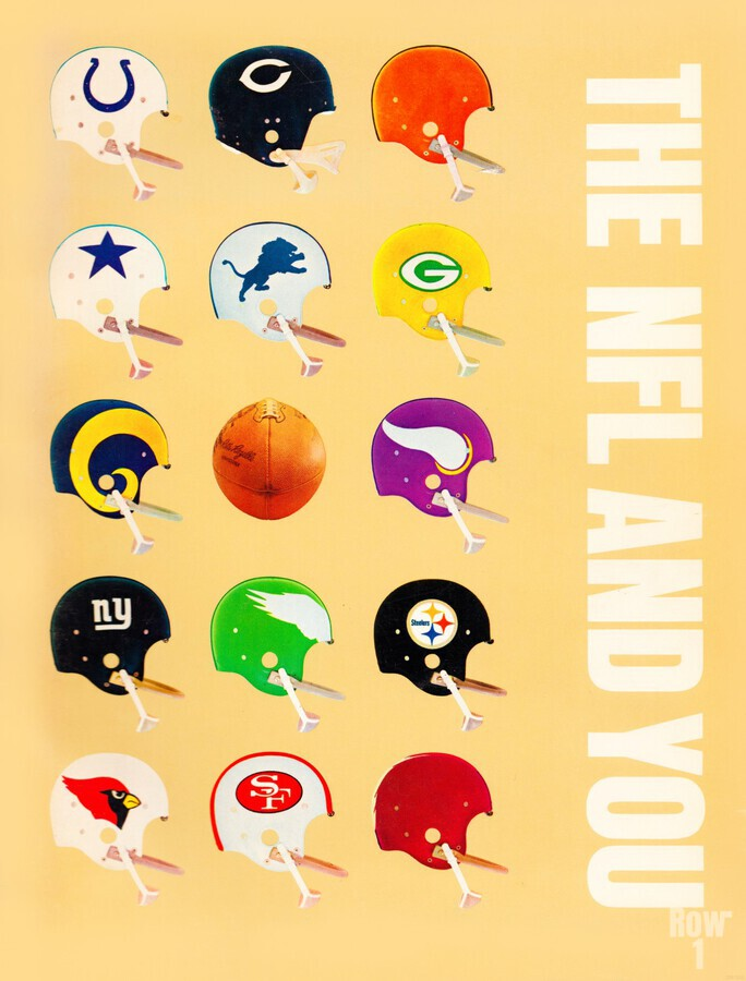 1963 vintage nfl helmets reproduction art  Print