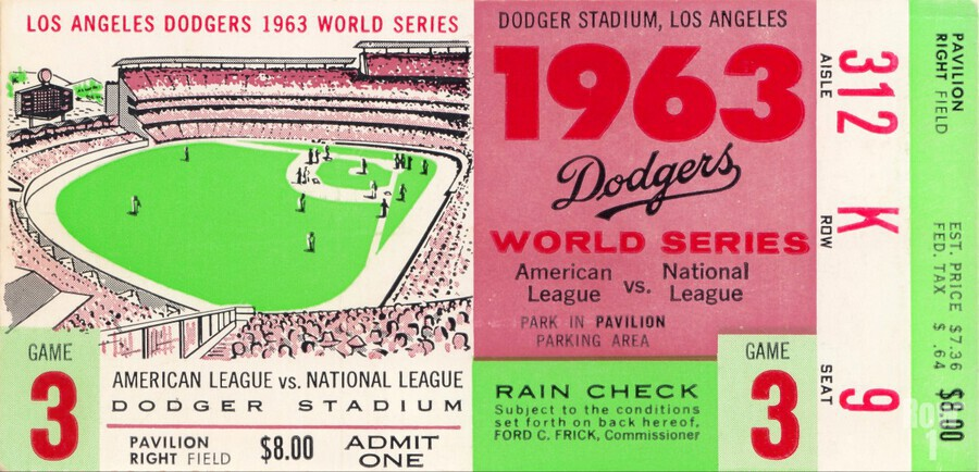 1963 world series ticket stub art la dodgers home decor  Print