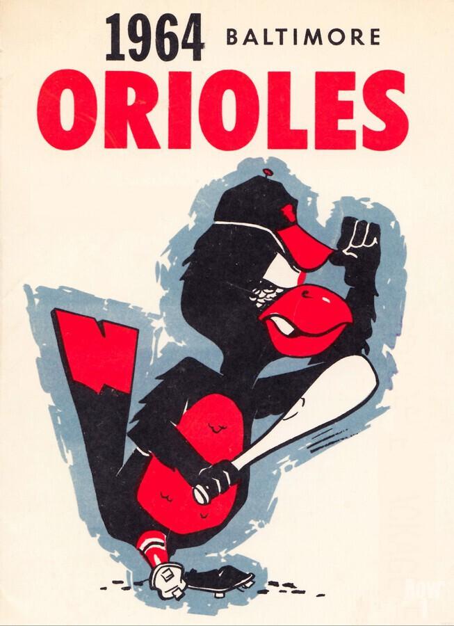 1964 baltimore orioles vintage baseball art poster  Print