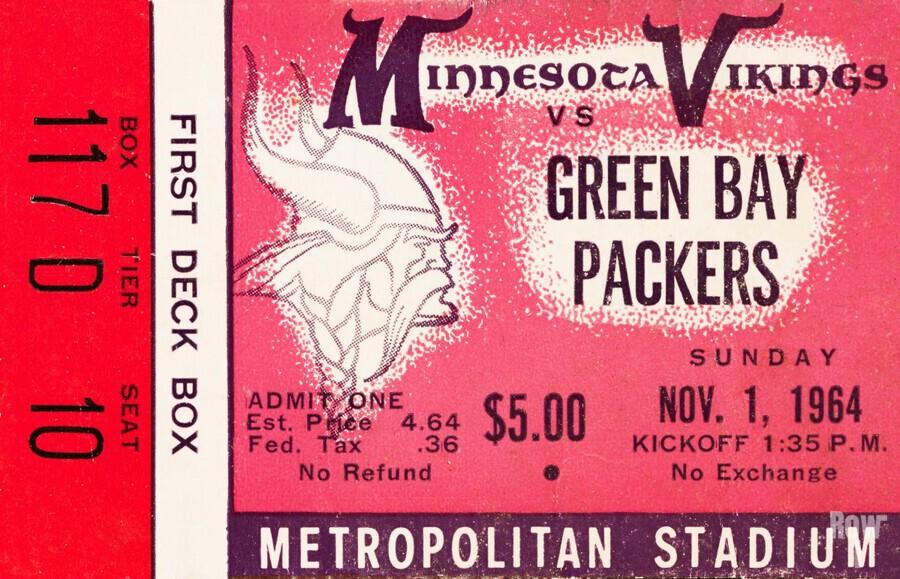 1964 Minnesota Vikings vs. Green Bay Packers Ticket Canvas  Print