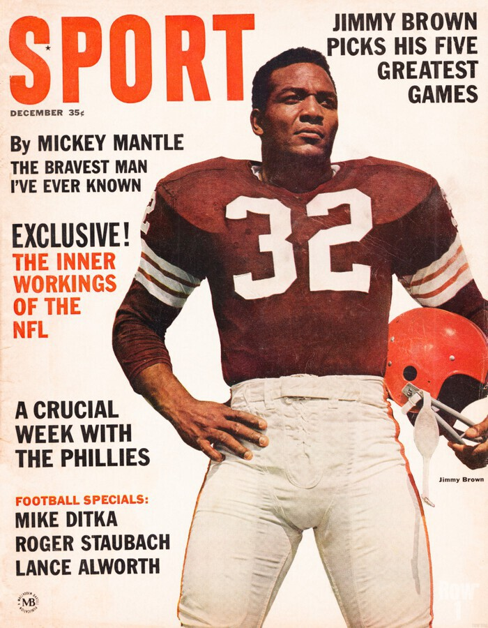 1964 Sport Magazine Jim Brown Cover Art  Print