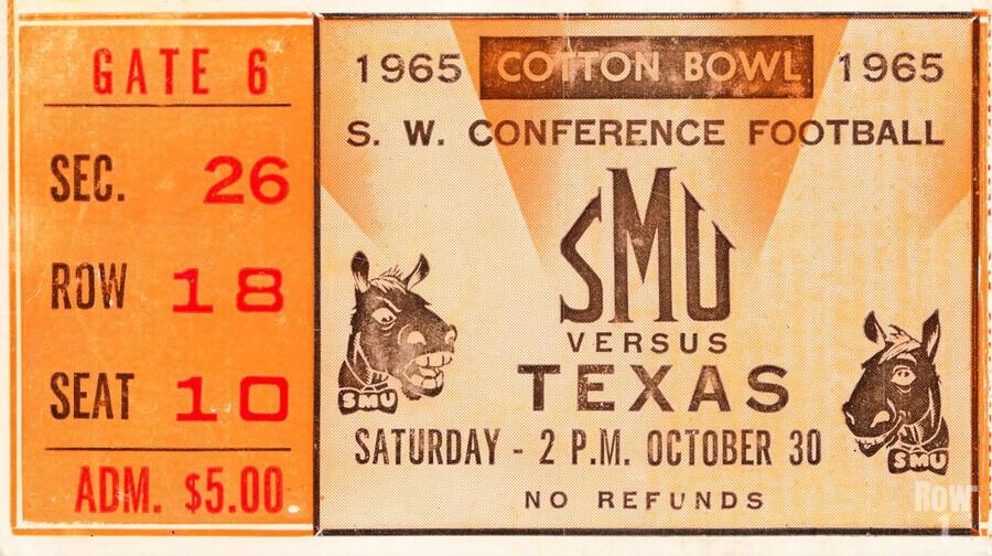1965 texas longhorns smu mustangs college football  Print