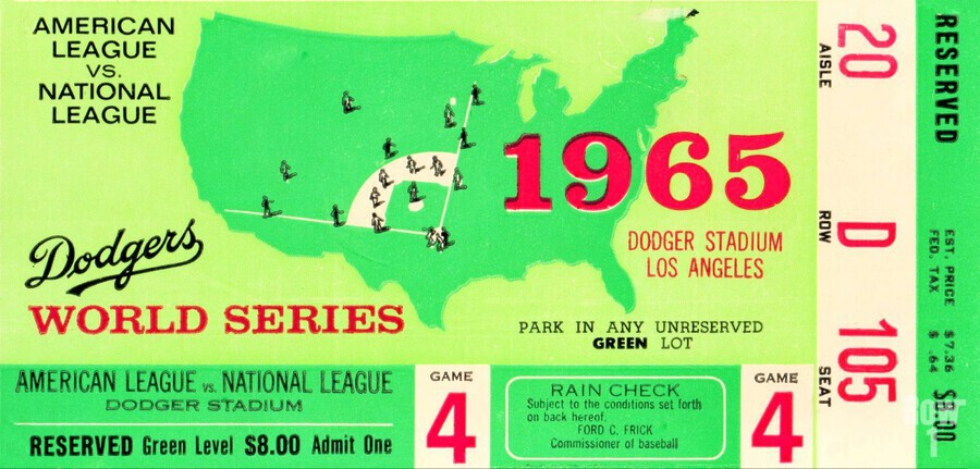 1965 World Series Ticket Stub Game 4  Print