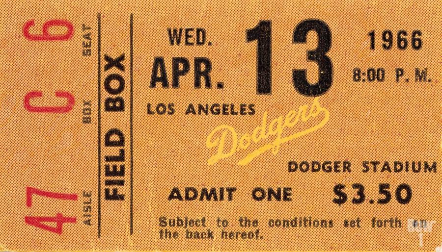 1966 la dodgers baseball ticket stub canvas art  Print