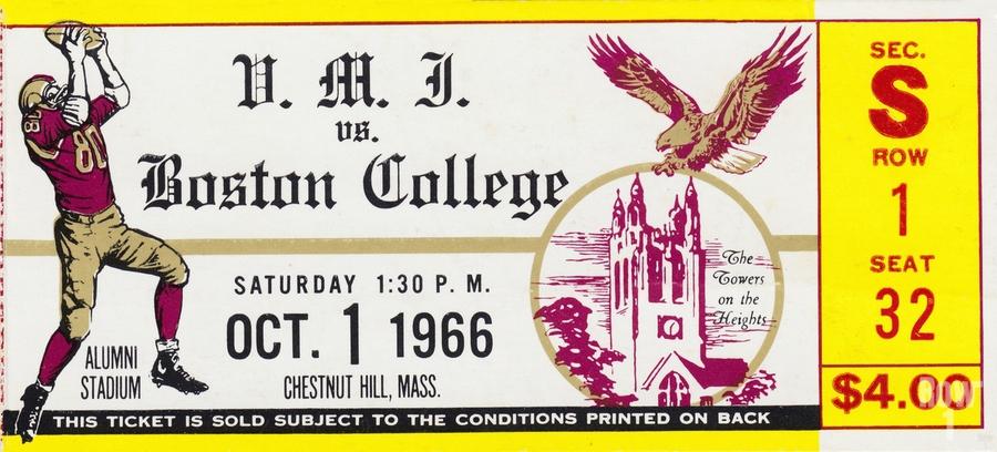 1966 VMI vs. Boston College Eagles Football Ticket Stub Art  Print