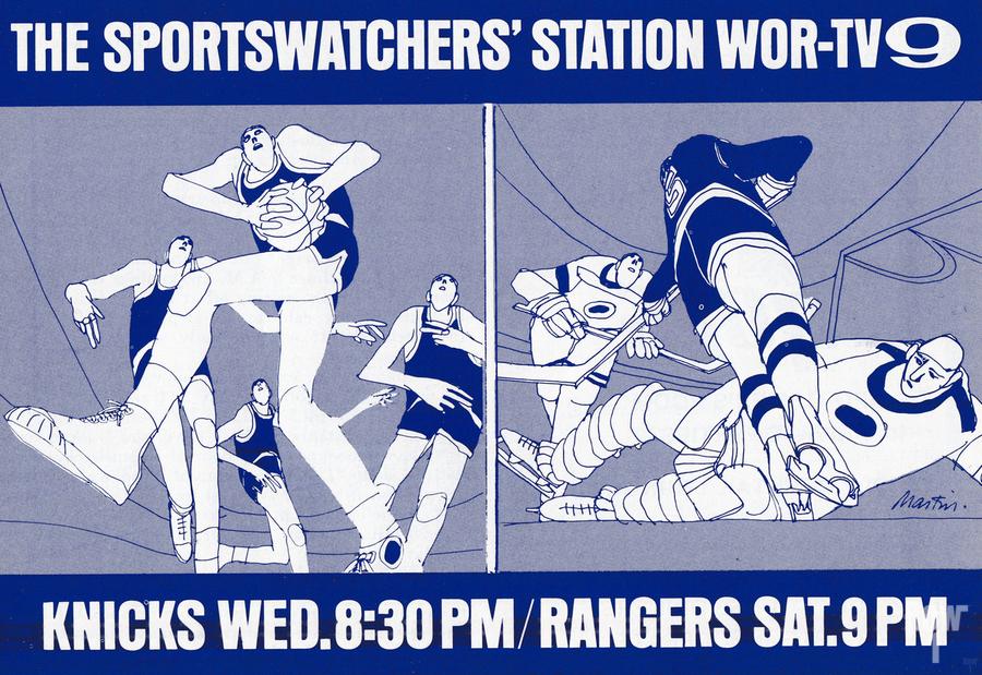 1967 New York Knicks and Rangers WOR TV9 Ad  Print