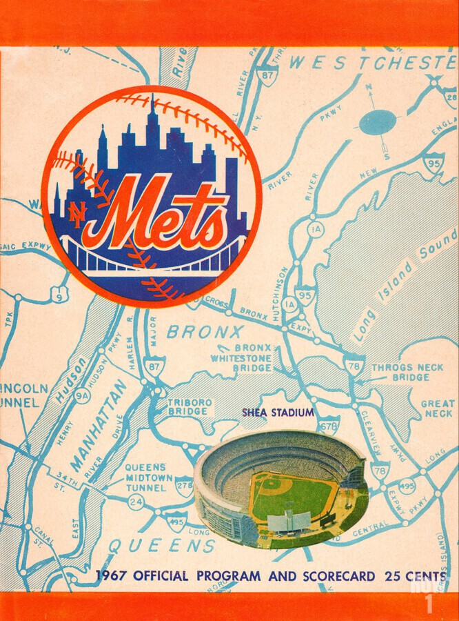 1967 new york mets vintage baseball scorecard poster wall art  Print