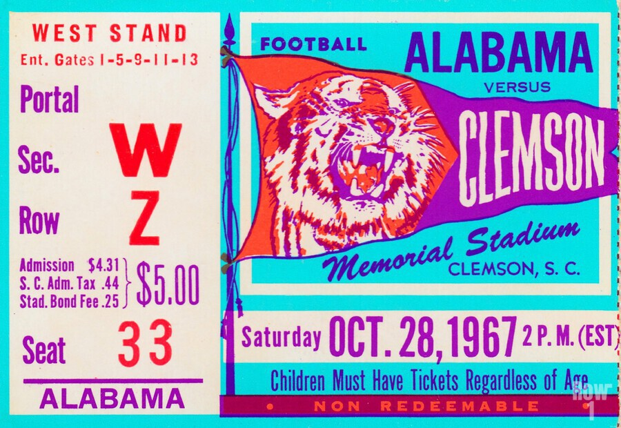 1967 Alabama vs. Clemson  Print