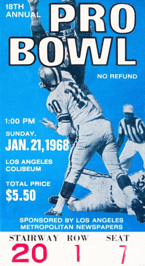 1968 Pro Bowl Football Ticket Stub Print  Print