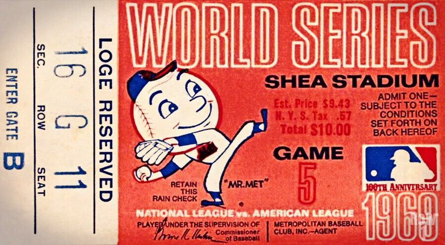 1969 New York Mets Game 5 Ticket Art  Print