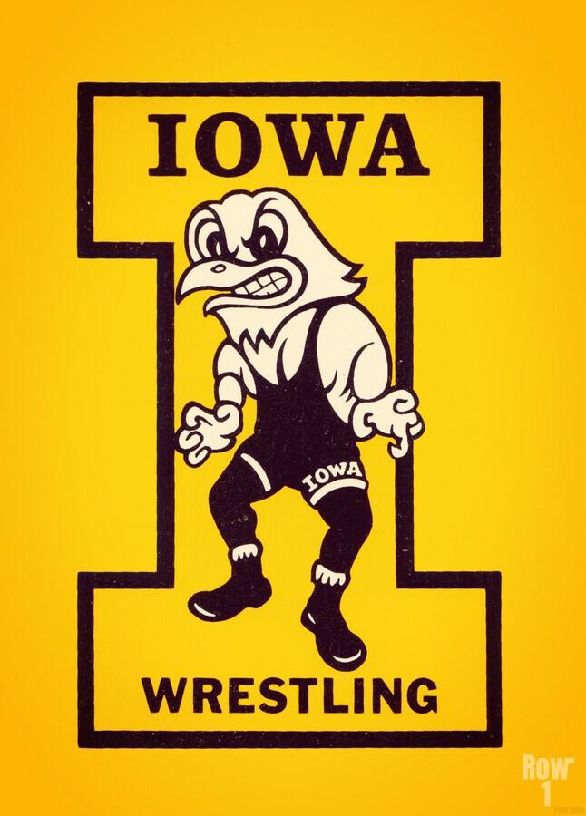 Vintage Iowa Wrestling Art  Print