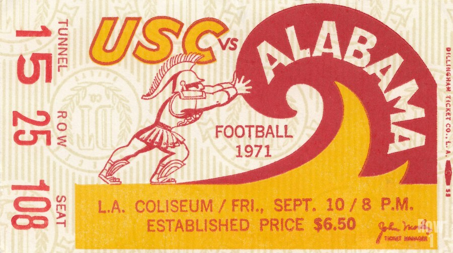 1971 alabama usc trojans football ticket stub prints on wood  Print