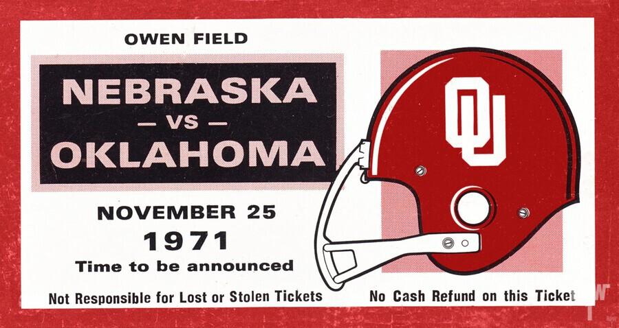 1971 Oklahoma Nebraska Game of the Century Ticket Stub Remix Canvas Art  Print