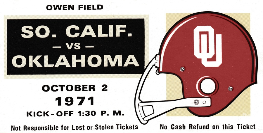 1971 USC vs. Oklahoma Football Ticket Stub Remix Art   Print