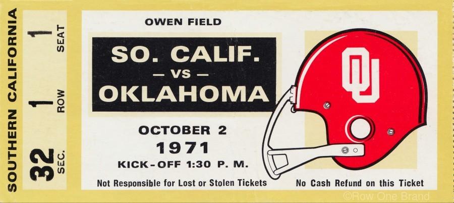 1971 usc trojans oklahoma sooners owen field norman ok football ticket wall art  Print