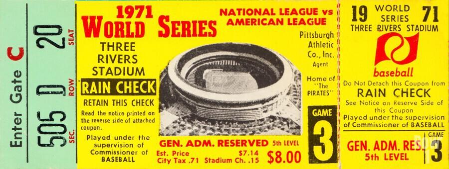 1971 World Series Ticket Stub Wall Art  Print