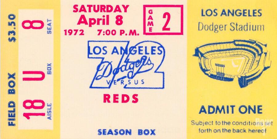 1972 la dodgers field level box baseball ticket stub canvas art  Print