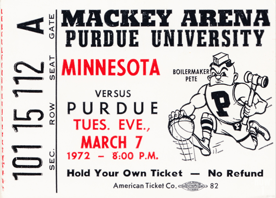 1972 Purdue Basketball Ticket Canvas  Print