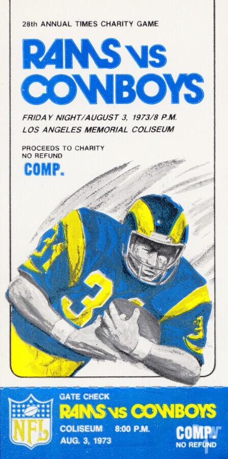 1973 LA Rams vs. Dallas Cowboys Ticket Art  Print