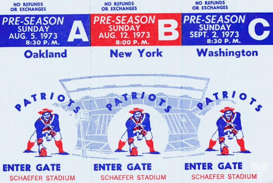 1973 New England Patriots Season Tickets  Print