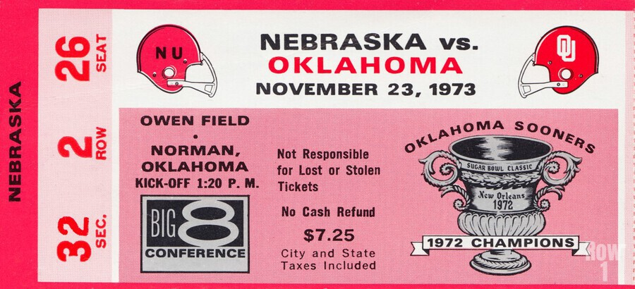 1973 oklahoma sooners nebraska cornhuskers owen field norman college football ticket art  Print