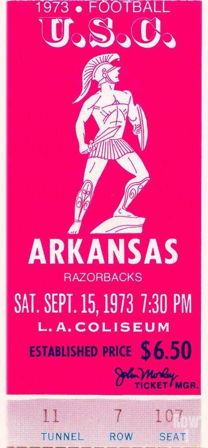 1973 usc trojans arkansas college football ticket stub art  Print