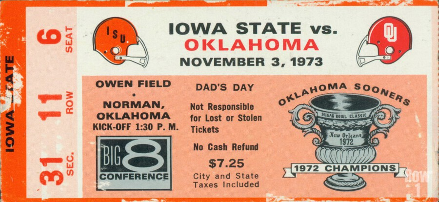 1973_College_Football_Oklahoma vs. Iowa State_Owen Field_Norman_Row One  Print