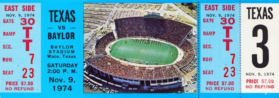 1974 baylor bears texas college football ticket art  Print