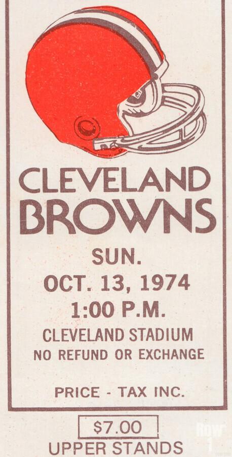 1974 Cleveland Browns Ticket Stub Art  Print