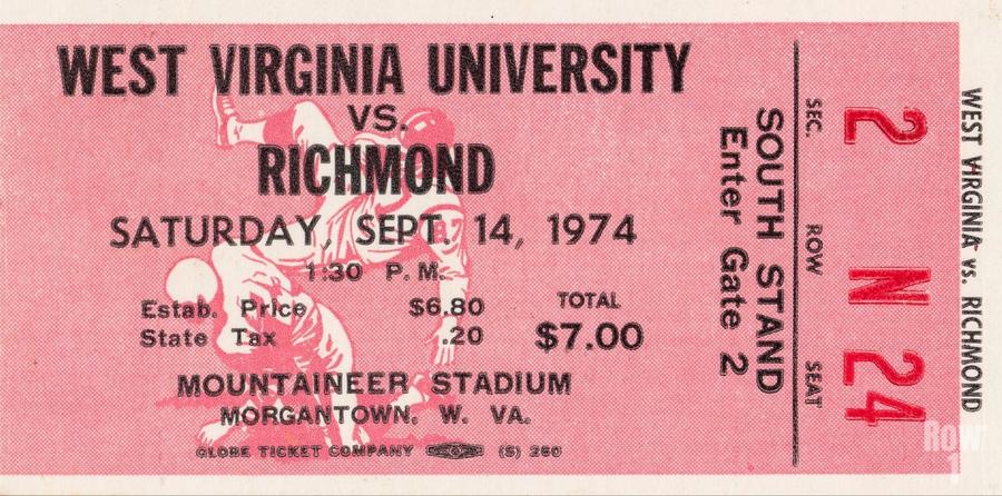 1974 West Virginia Mountaineers vs. Richmond Spiders  Print