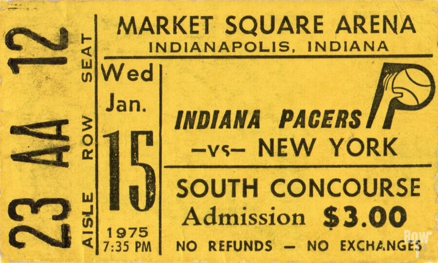 1975_American Basketball Association_New York Nets vs. Indiana Pacers_Market Square Arena_Row One  Print