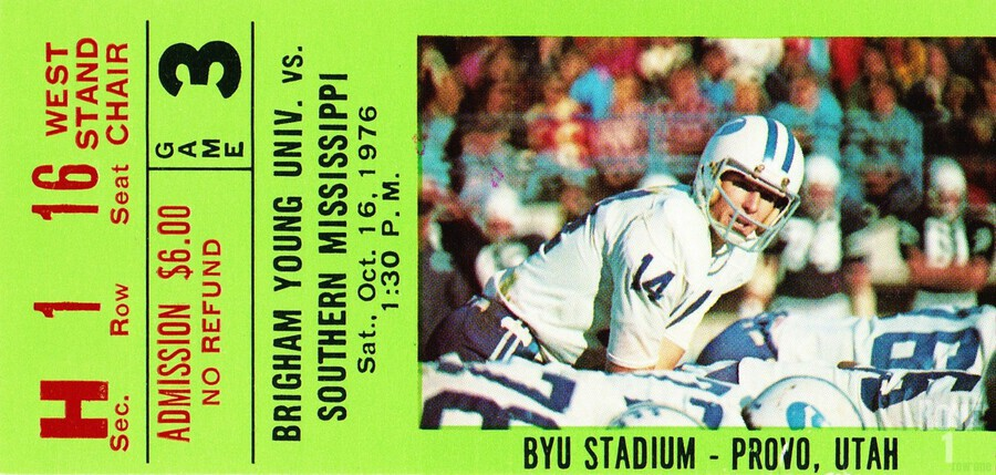 1976 BYU Cougars Ticket Stub  Print