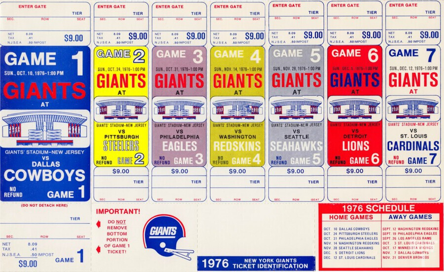 1976 New York Giants NFL Ticket Sheet Reproduction Poster Row One  Print