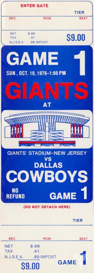 1976 dallas cowboys new york giants nfl ticket stub poster art reproduction football wall artwork  Print