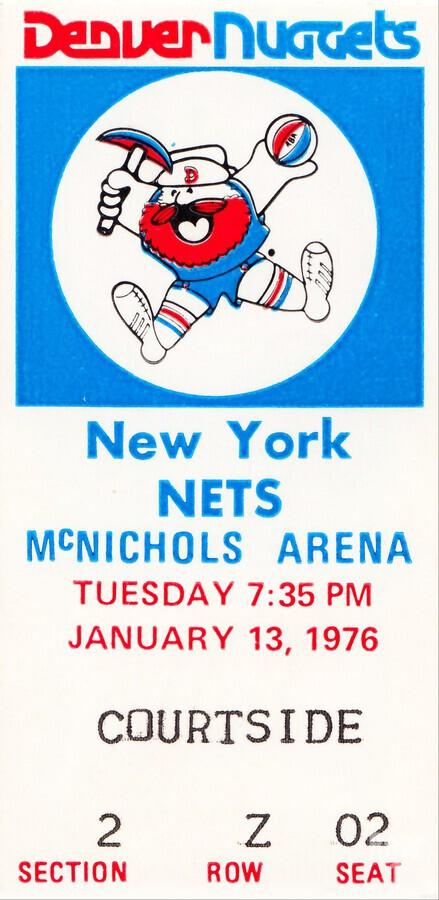1976 denver nuggets vintage ticket stub art  Print