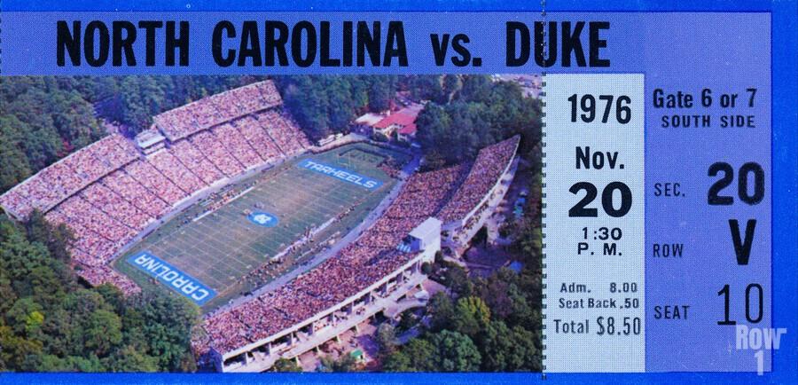 1976 duke north carolina vintage college football ticket art for the wall  Print
