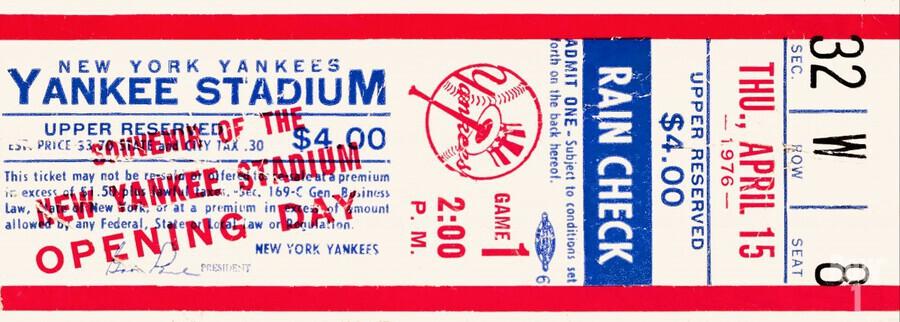 1976 new york yankees yankee stadium ticket stub art poster  Print