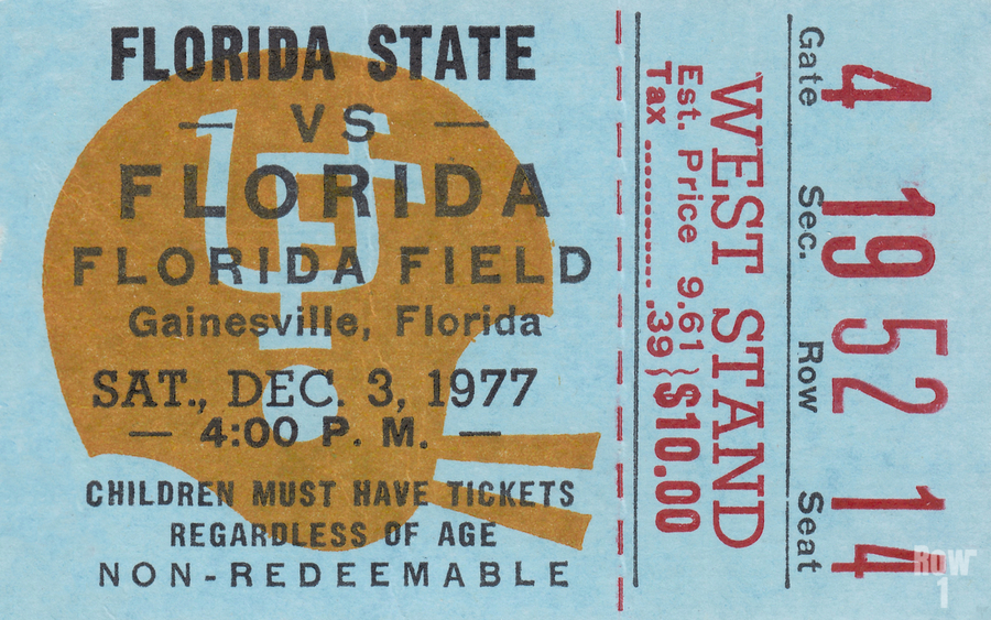 1977 Florida State vs. Florida Football Ticket Art  Print