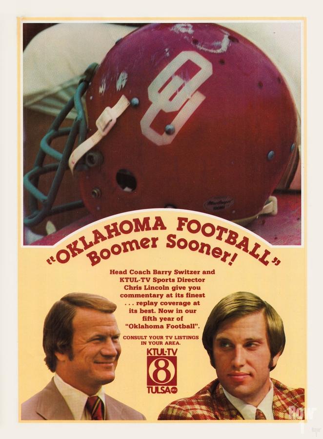 1977 Oklahoma Football Show Ad Barry Switzer   Print
