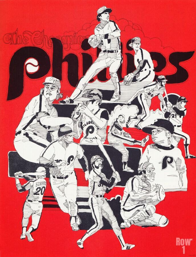 1977 philadelphia phillies champions retro baseball poster  Print