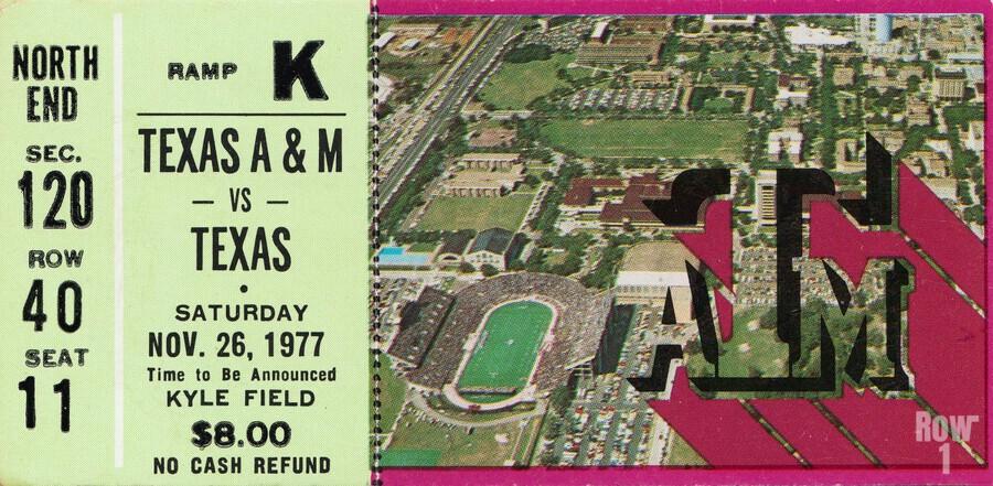 1977 texas am aggies college station football ticket stub wall art  Print