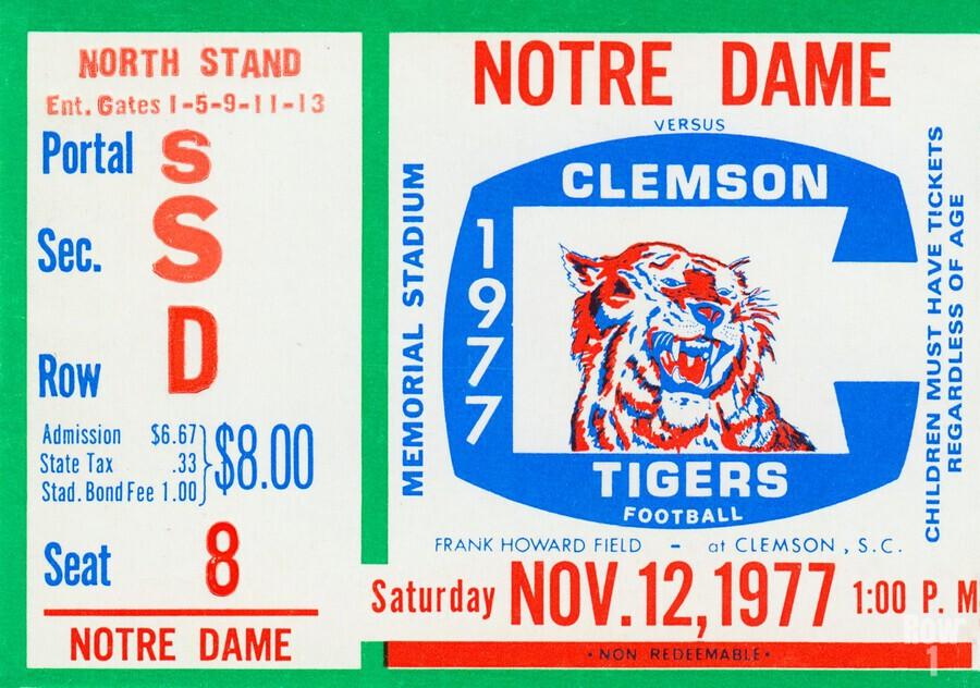 1977 Notre Dame vs. Clemson  Print