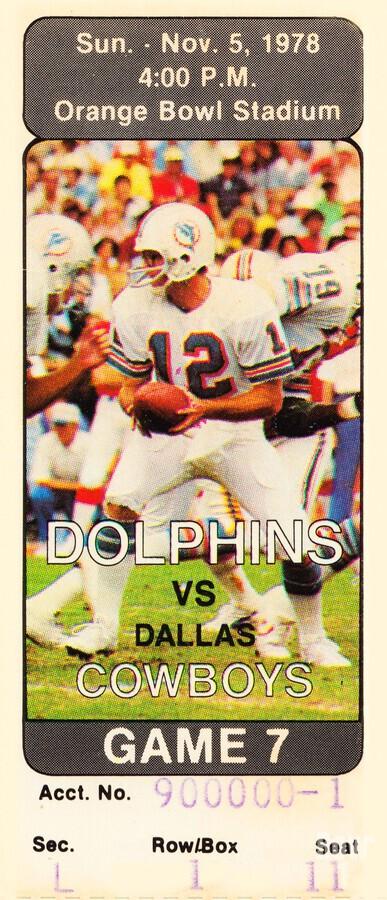 1978 miami dolphins dallas cowboys ticket art  Print