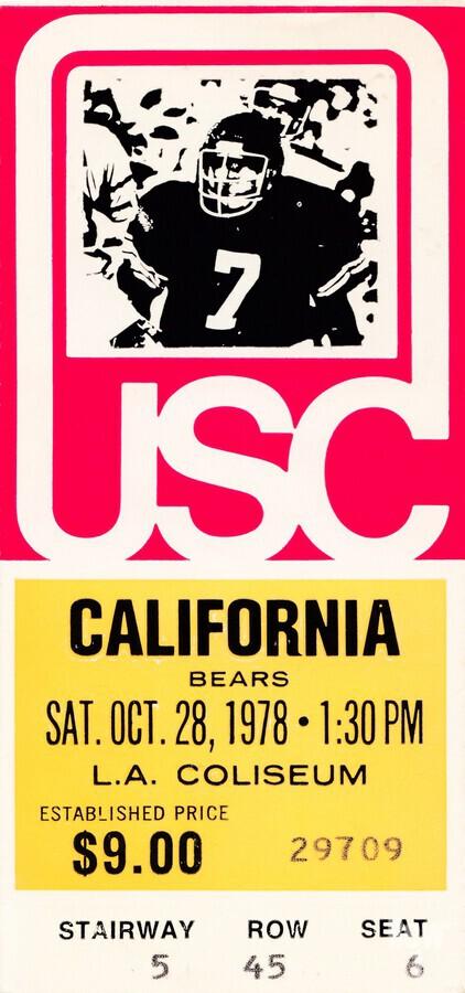 1978 usc trojans california ticket stub art poster  Print